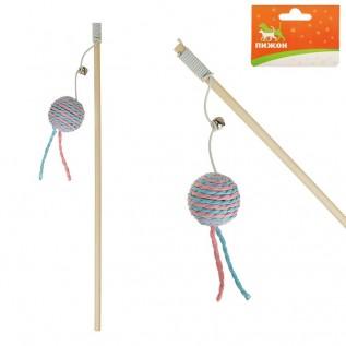 Дразнилка-удочка с шариком на деревянной ручке