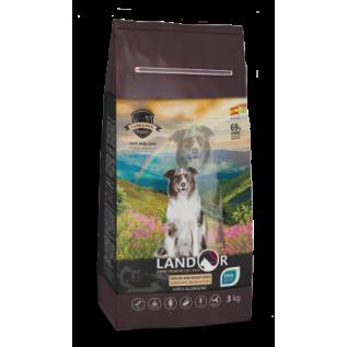 LANDOR Полнорационный сухой корм для пожилых и взрослых собак всех пород с функцией  улучшения мозговой деятельности утка с рисом 15 кг