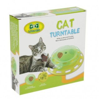 Игровой комплекс для кошек с отсеками для корма и шариком