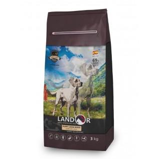 LANDOR Полнорационный сухой корм для щенков  крупных пород ягненок с рисом 3 кг