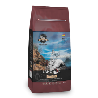 LANDOR Полнорационный сухой беззерновой корм для взрослых кошек индейка с бататом 0,4 кг