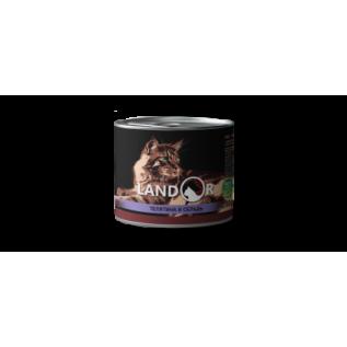 LANDOR Полноценный сбалансированный влажный корм для пожилых кошек телятина с сельдью 0,2 кг