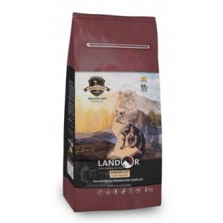 LANDOR Полнорационный сухой корм для кошек, живущих в помещении утка с рисом 10 кг