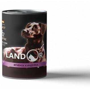 LANDOR Полноценный сбалансированный влажный корм для собак всех пород ягненок с индейкой 0,4 кг