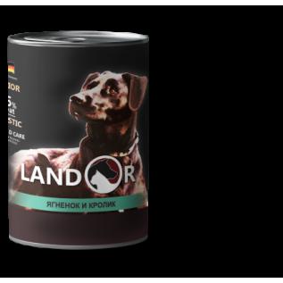 LANDOR Полноценный сбалансированный влажный корм для пожилых собак ягненок с кроликом  0,4 кг