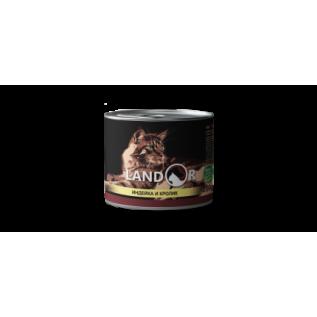 LANDOR Полноценный сбалансированный влажный корм для взрослых кошек индейка с кроликом 0,2 кг