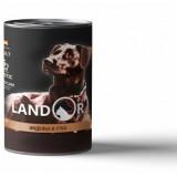 LANDOR Полноценный сбалансированный влажный корм для собак всех пород  индейка с уткой  0,4 кг